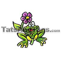 Cute Frog With Flower Temporary Tattoos Military Style Dog Tags Custom Tags