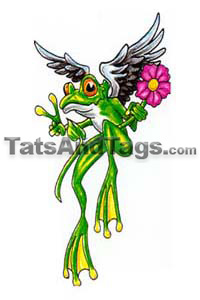 Peace frog with flower temporary tattoo