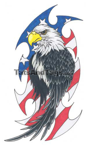 Eagle w/Flag Temporary Tattoo, Eagle
