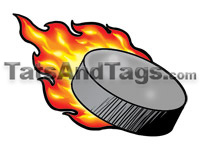 flaming puck temporary tattoo