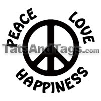 Peace Love Happiness Temporary Tattoo by Tattoos by Custom Tags