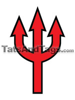 Red Pitchfork Temporary tattoo