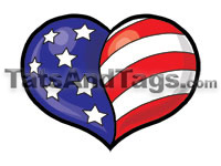 patriotic heart temporary tattoo