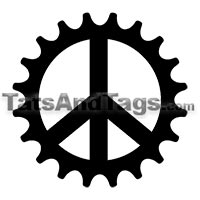 bike gear peace sign temporary tattoo