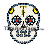 bicycle sugar skull temporary tattoo