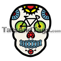 Bike Sugar Skull Temporary Tattoo