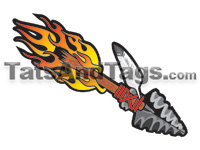Flaming lance temporary tattoo