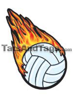 Flaming Volleyball tattoo