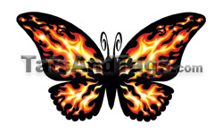 flaming hot butterfly temporary tattoo