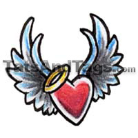 flying heart temporary tattoo