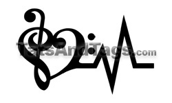 Music Heartbeat temporary tattoo