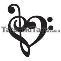 g clef heart tattoo  Treble Clef Bass He...
