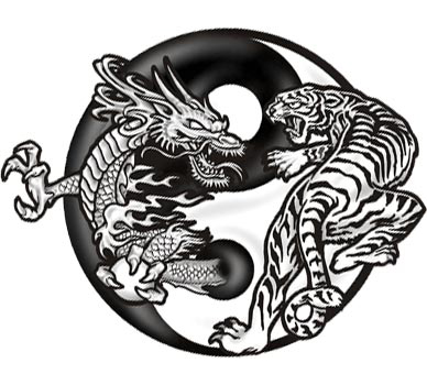 "Dragon-Tiger Yin Yang Temporary Tattoo Design, Actual Size = 3.5"" x 3 ..."