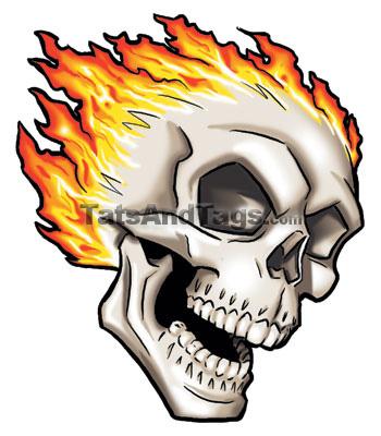 flaming skull tattoos. Flaming Skull Temporary Tattoo