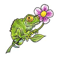 Lizard with Flowers temporary tattoo