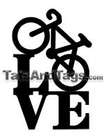 love bike temporary tattoo