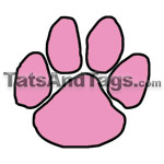 pink paw print temporary Tattoo