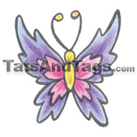 purple pink butterfly temporary tattoo