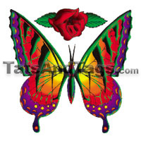 red butterfly temporary tattoo