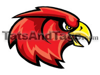 red hawk head temporary tattoo