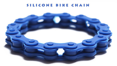 blue silicone bike chain bracelet