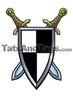 swords and shield temporary tattoo