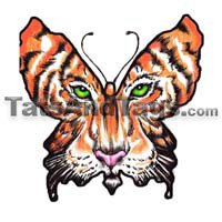 tiger face butterfly temporary tattoo
