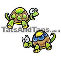 two cute turtles temporary tattoo
