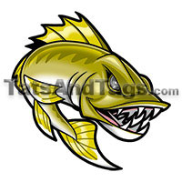 Walleye Temporary Tattoo
