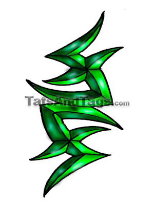 green tribal temporary tattoo