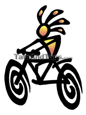 kokopelli biker temporary tattoo with fish