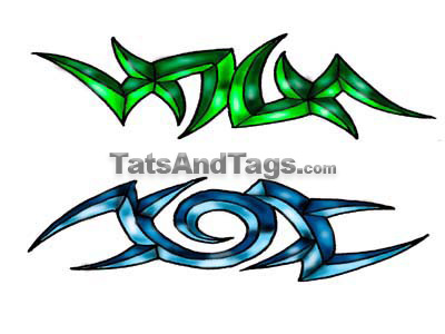 green/blue tribal temporary tattoos