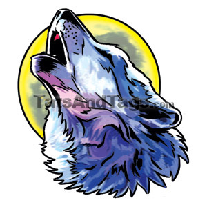 Wolf And Moon Temporary Tattoo Wolf Designs By Custom Tags