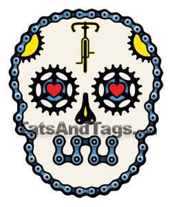 sugar skull bike temporary tattoo