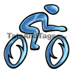 blue bicycle temporary tattoo