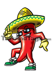 dancing chili temporary tattoo