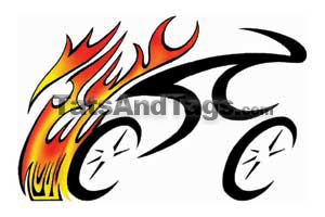 flaming tribal bike temporary tattoo