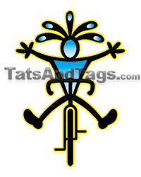 Kokopelli on forward bike temporary tattoo