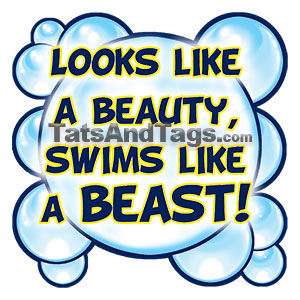 looks like a beauty swims like a beast temporary tattoo