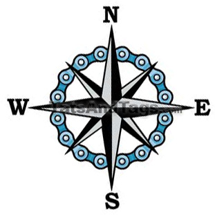 Compass star bicycle chain temporary tattoo