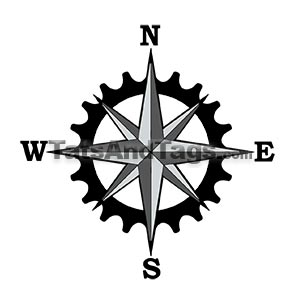 Compass star bicycle gear temporary tattoo