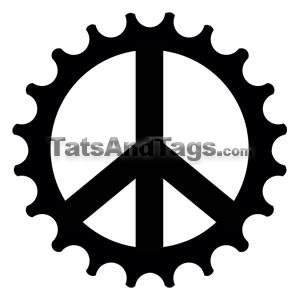 peace cog bicycle temporary tattoo