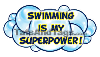 swimming is my superpower temporary tattoo