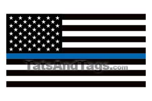 thin blue line American Flag temporary tattoo