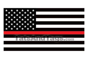thin red line American Flag temporary tattoo