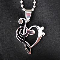 Music pendants music temporary tattoo designs and jewelry treble clef bass heart pendant 995 aloadofball Choice Image